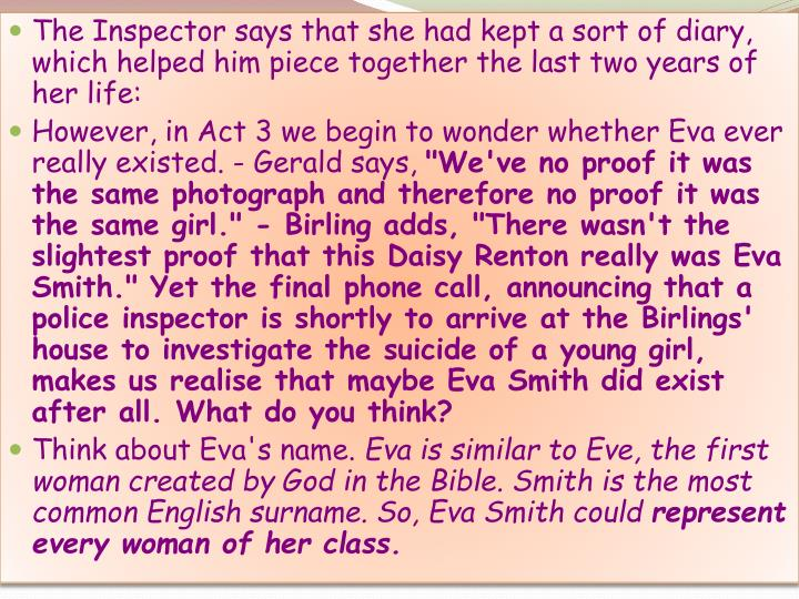 daisy renton diary Timeline of eva smith changed her name to daisy renton end of march  which is clear from her own diary and her actions after the 'affair' (p possibly most .