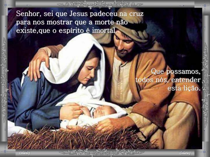 Senhor, sei que Jesus padeceu na cruz