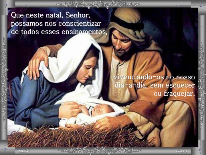 Que neste natal, Senhor, possamos nos conscientizar