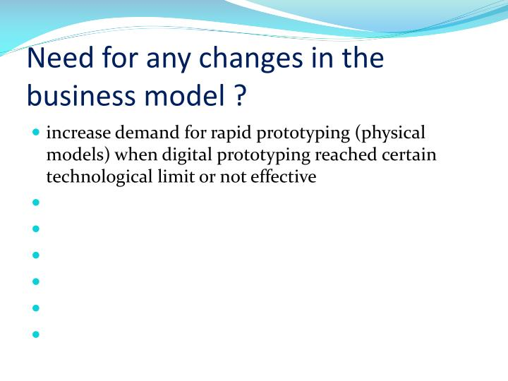 Need for any changes in the business model ?