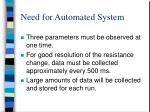 need for automated system