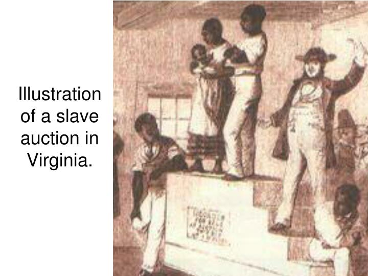 Illustration of a slave auction in Virginia.