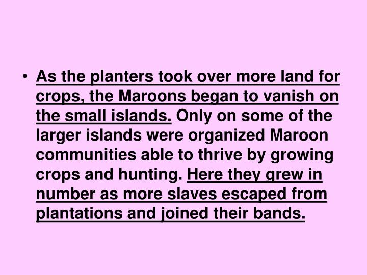 As the planters took over more land for crops, the Maroons began to vanish on the small islands.