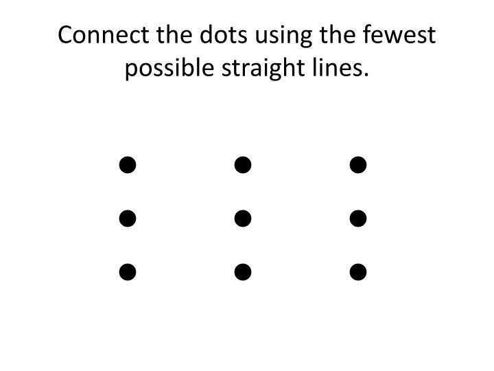 Connect the dots using the fewest possible straight lines.