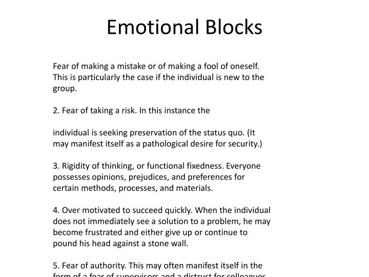 Emotional Blocks