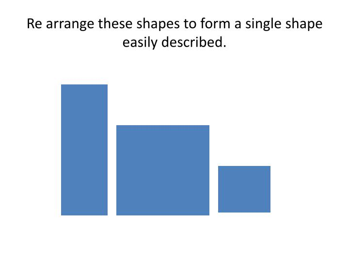 Re arrange these shapes to form a single shape easily described.
