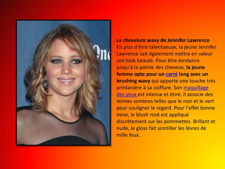 La chevelure wavy de Jennifer Lawrence