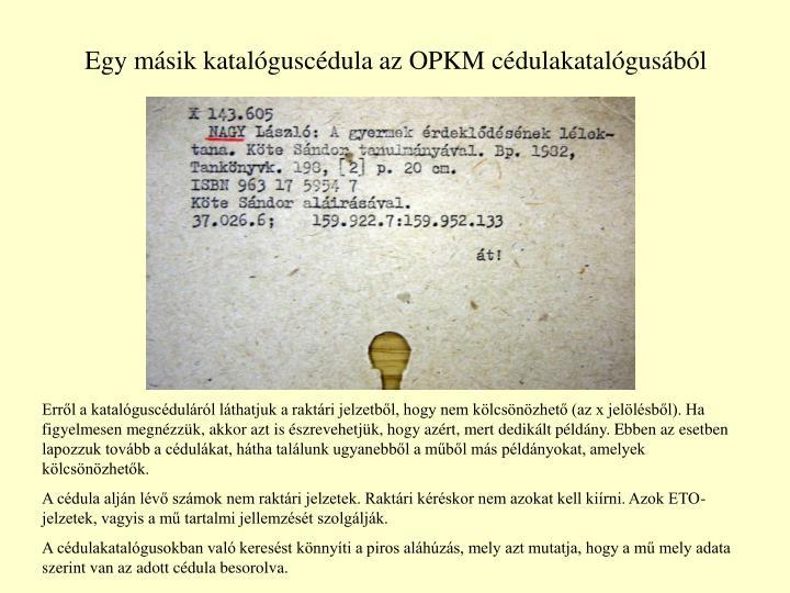 Egy másik katalóguscédula az OPKM cédulakatalógusából