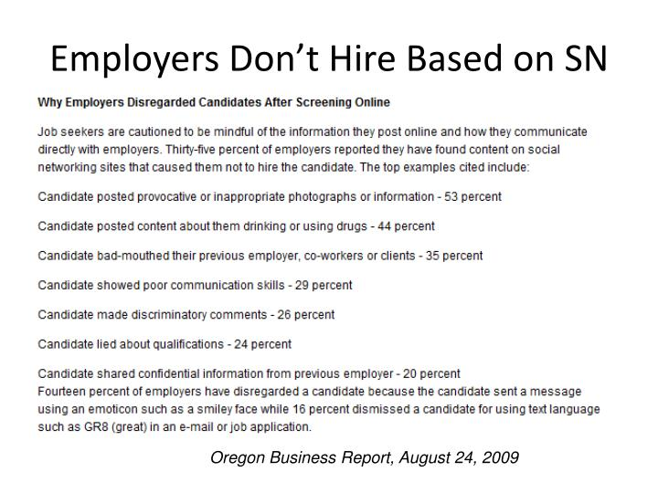 Employers Don't Hire Based on SN