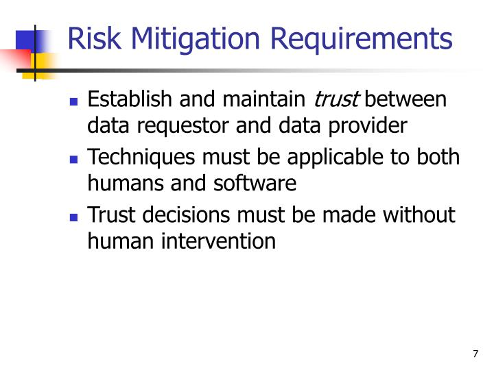 Risk Mitigation Requirements