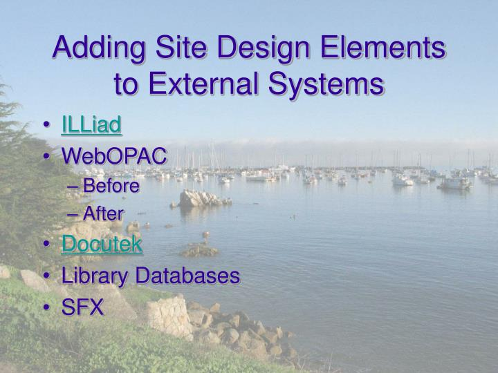 Adding Site Design Elements to External Systems