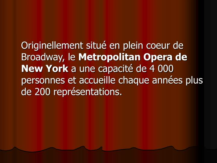 Originellement situé en plein coeur de Broadway, le