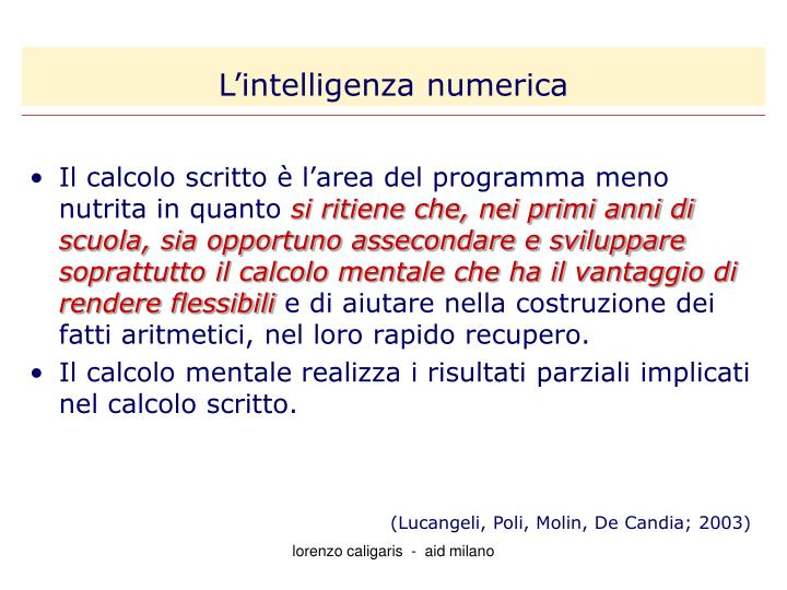 L'intelligenza numerica