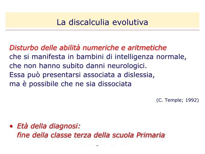 La discalculia evolutiva