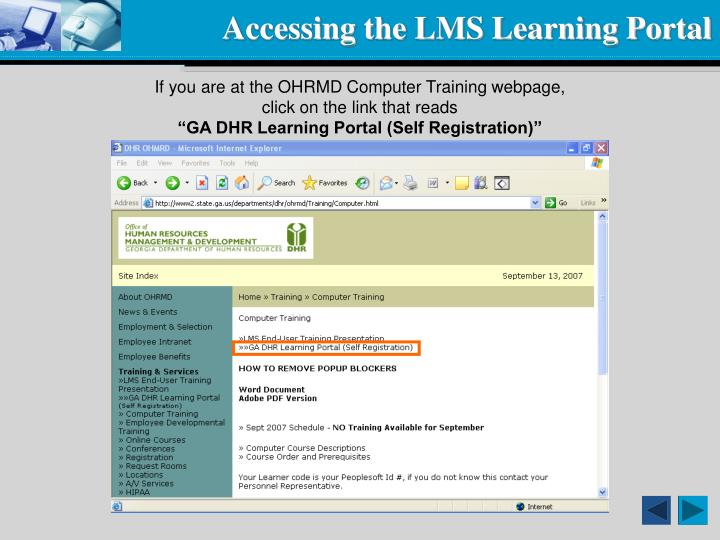 Accessing the lms learning portal