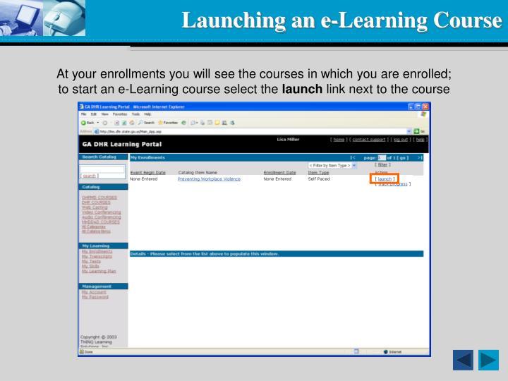 Launching an e-Learning Course