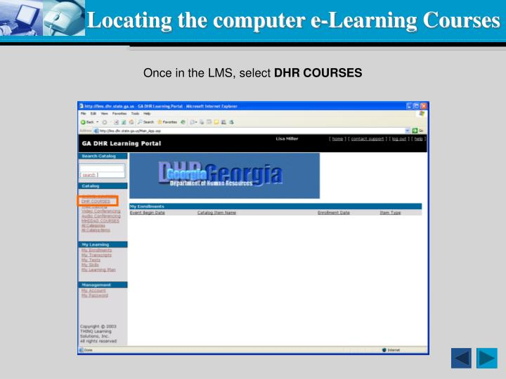 Locating the computer e-Learning Courses