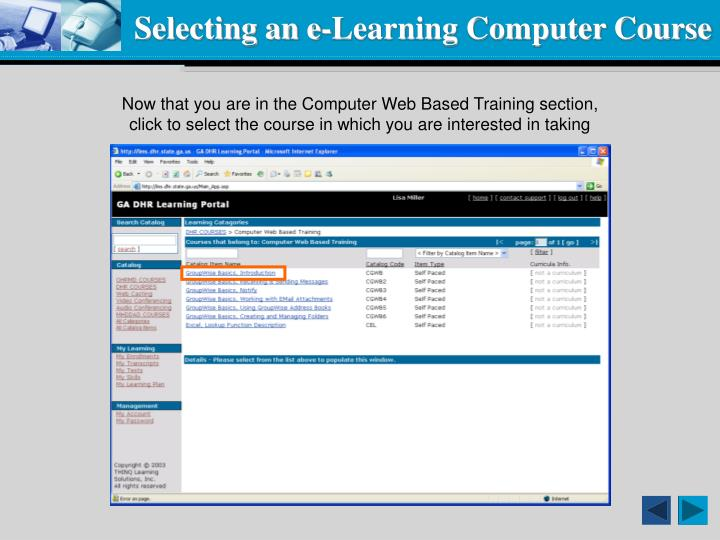 Selecting an e-Learning Computer Course