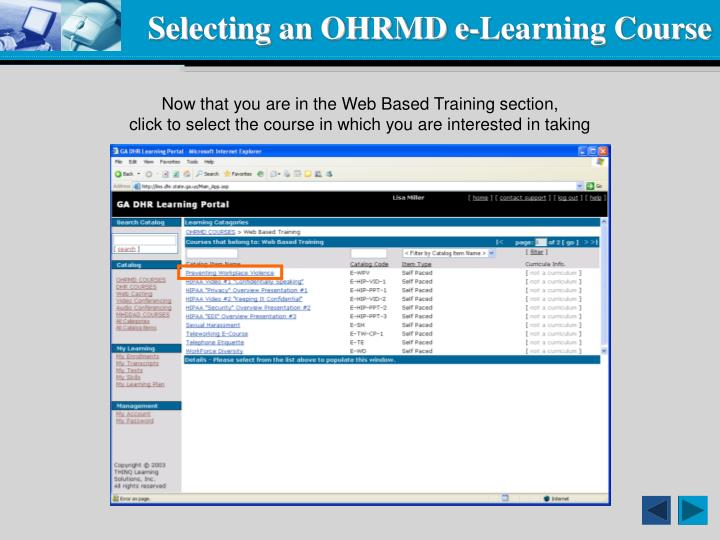 Selecting an OHRMD e-Learning Course