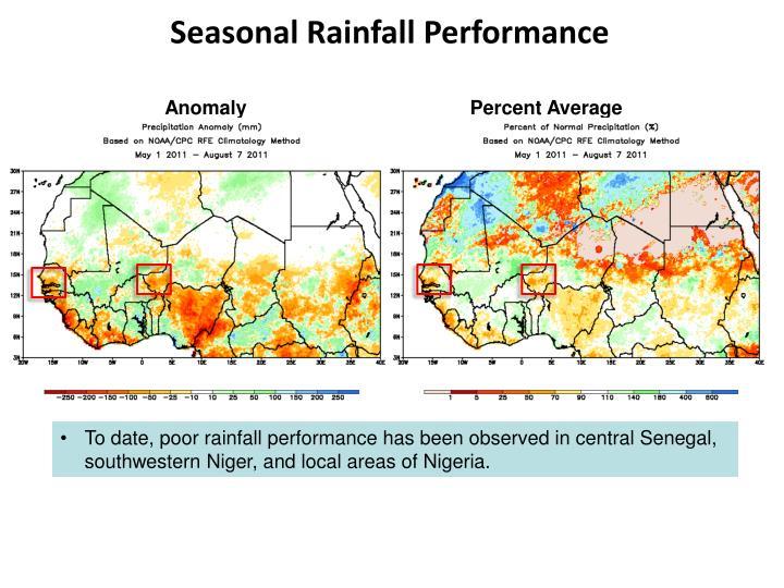 Seasonal Rainfall Performance