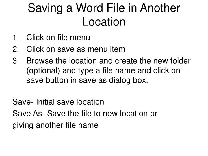 Saving a Word File in Another Location