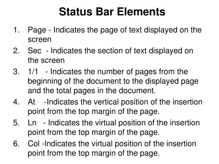 Status Bar Elements