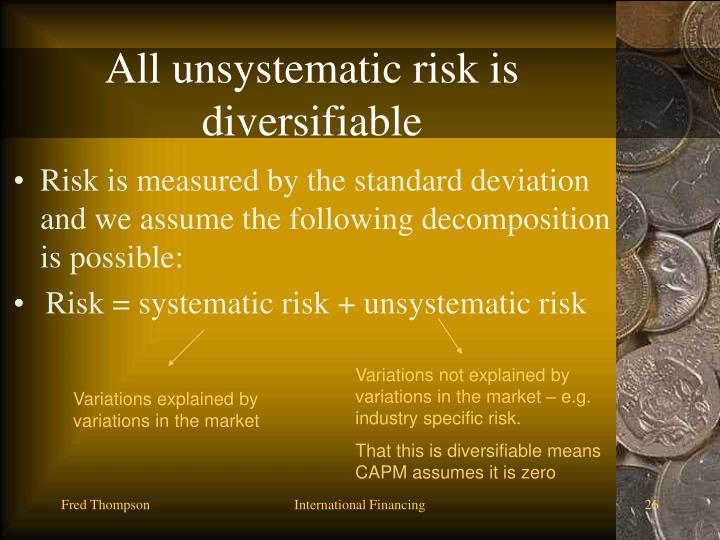 All unsystematic risk is diversifiable
