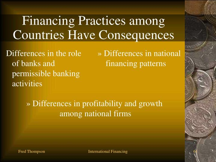Differences in the role of banks and permissible banking activities