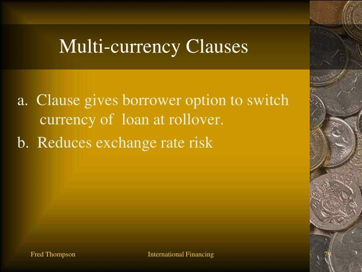 Multi-currency Clauses