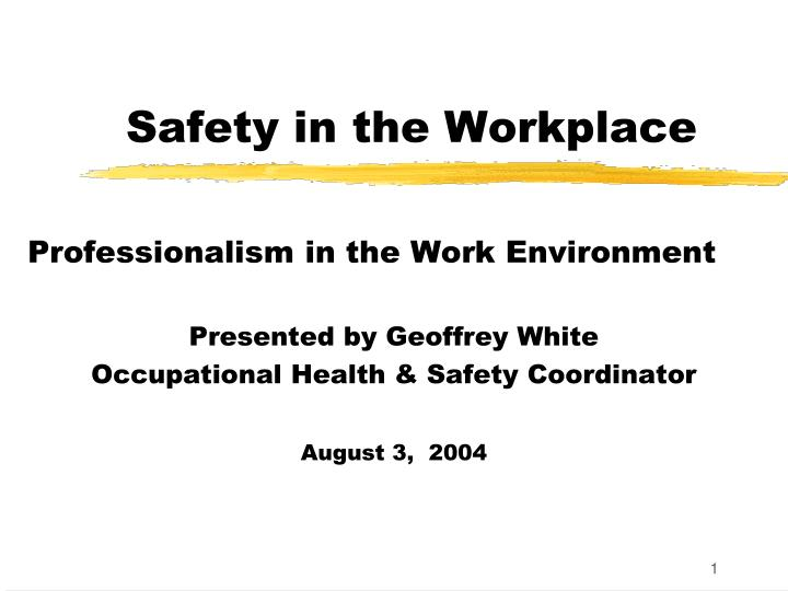 safety in the workplace n.