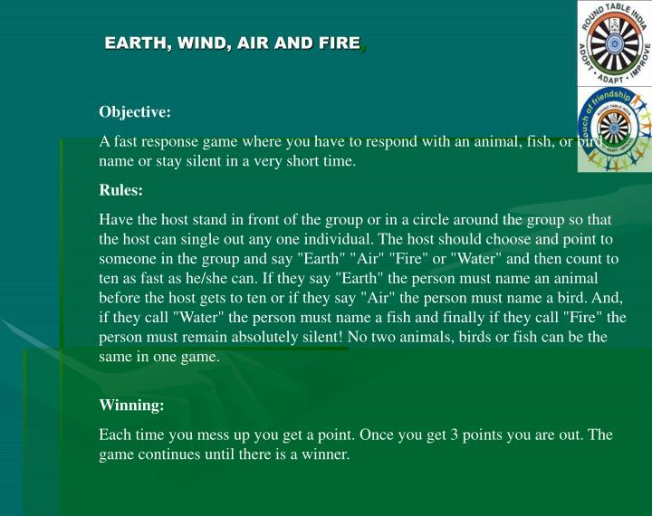 EARTH, WIND, AIR AND FIRE