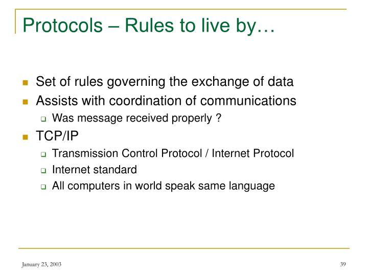 Protocols – Rules to live by…