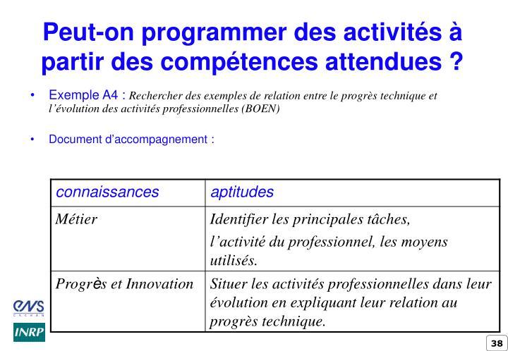 Peut-on programmer des activités à partir des compétences attendues ?