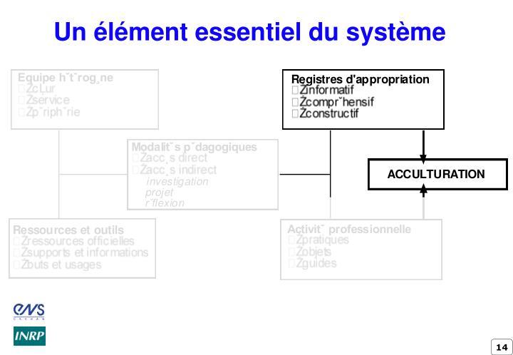 Un élément essentiel du système
