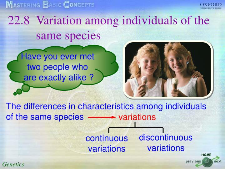 22.8	Variation among individuals of the same species
