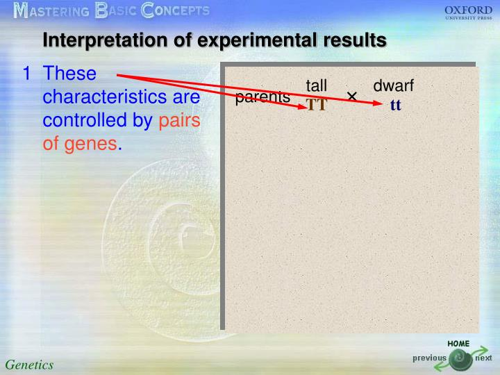 Interpretation of experimental results
