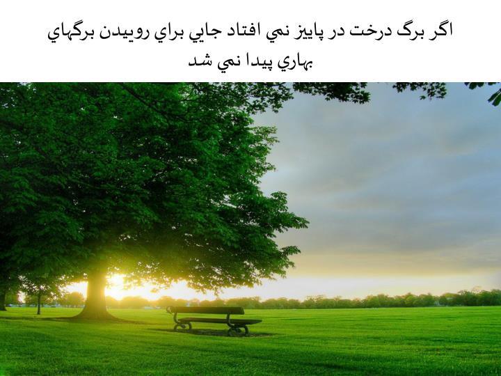 اگر برگ درخت در پاييز نمي افتاد جايي براي روييدن برگهاي بهاري پيدا نمي شد