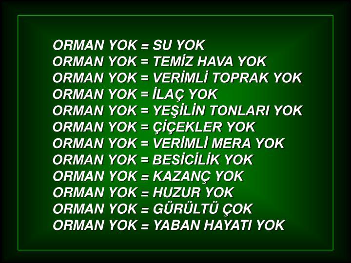 ORMAN YOK = SU YOK