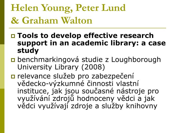 Helen Young, Peter Lund