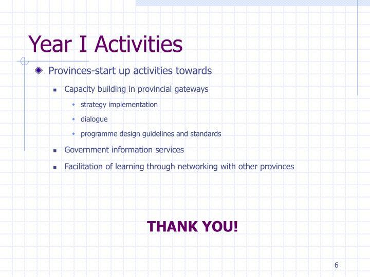 Year I Activities