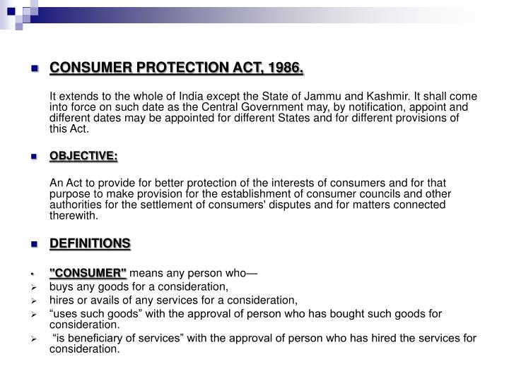 consumer protection act 1986 The australian consumer law is controlled and enforced jointly by the australian competition and consumer commission (accc) and the state and territory consumer protection agencies, with the involvement of the australian securities and investments commission (asic) on relevant matters.