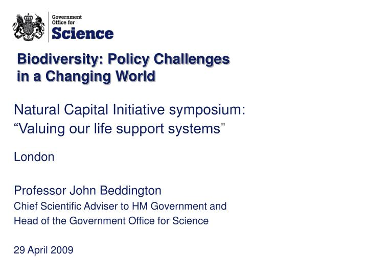 biodiversity policy challenges in a changing world