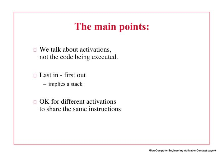The main points: