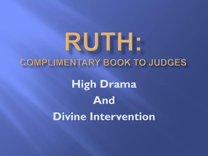 ruth complimentary book to judges n.