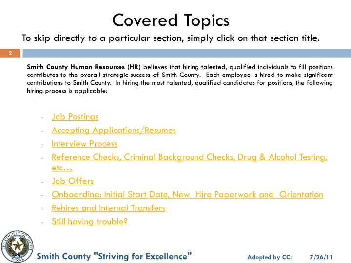 Covered Topics