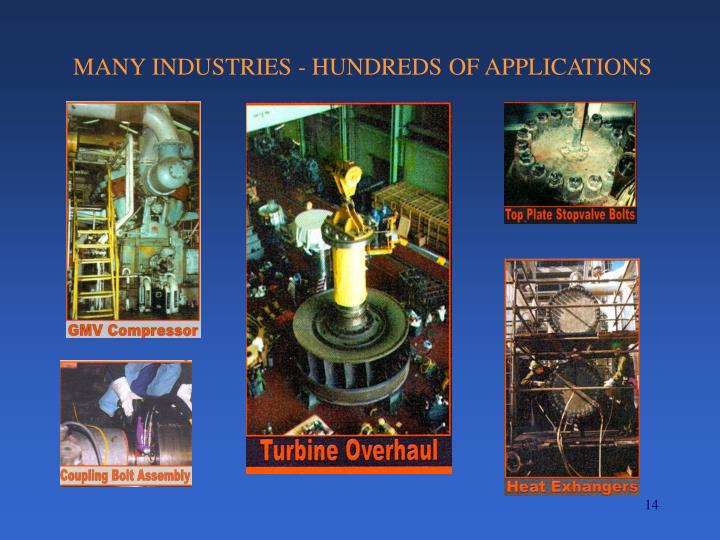 MANY INDUSTRIES - HUNDREDS OF APPLICATIONS