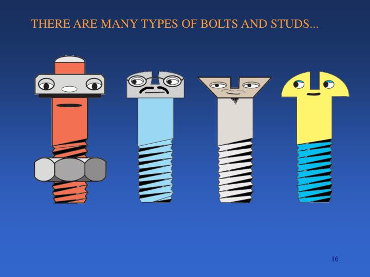 THERE ARE MANY TYPES OF BOLTS AND STUDS...