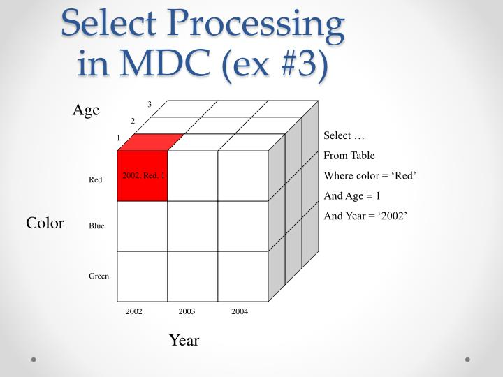 Select Processing in MDC (ex #3)