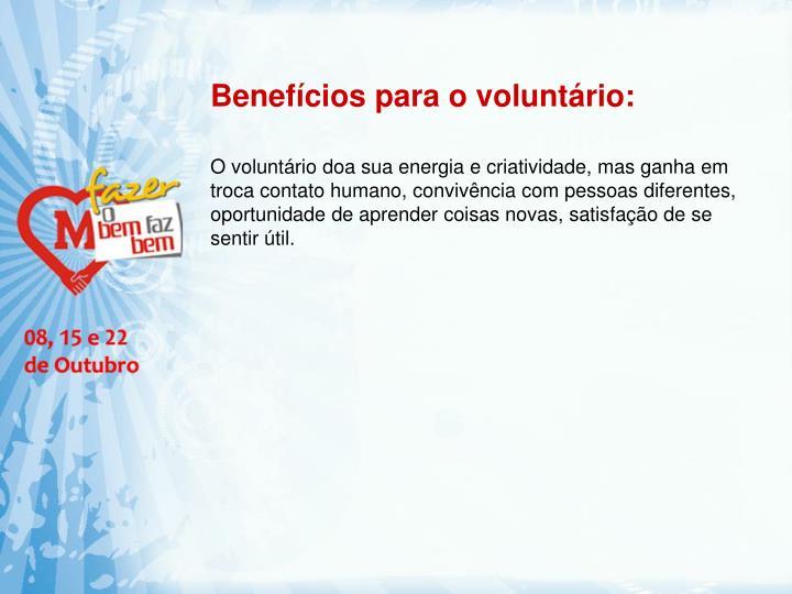 Benefícios para o voluntário:
