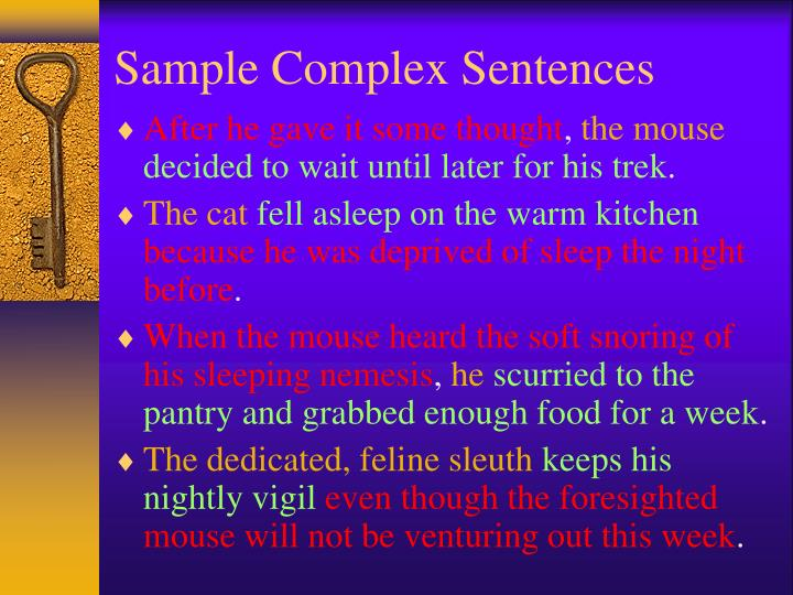 Sample Complex Sentences